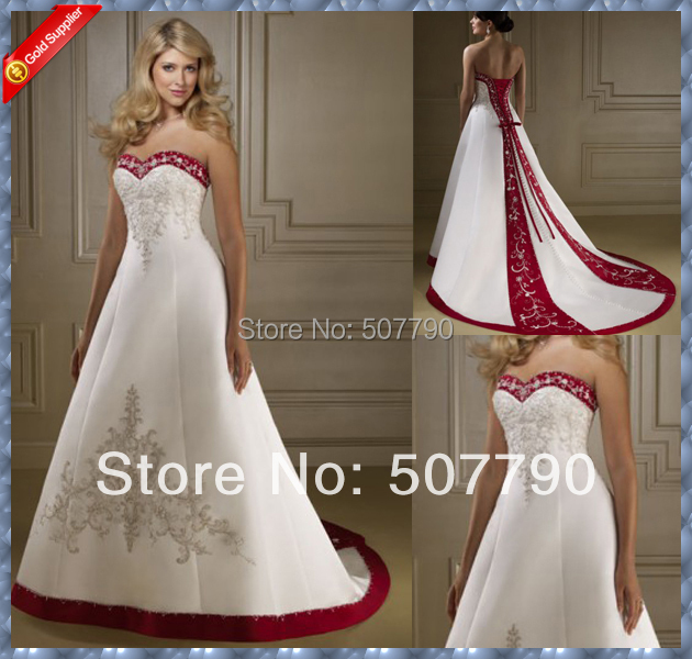 Red and white wedding dresses cheap wedding dresses in for Red wedding dresses cheap