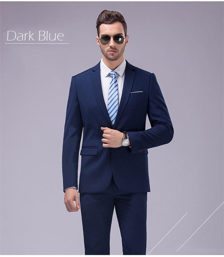 custom made navy tuxedo jacket men suit groom wedding