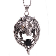 New Hot Movie Necklace Wholesale Fashion stainless steel Movie Jewelry Punk Wolf Pendant Wolf Head Necklace(China (Mainland))