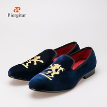 Men's fashion casual shoes British Lions embroidered mens loafers leather wedding Shoe Men Flats Size US 6-14 Free shipping