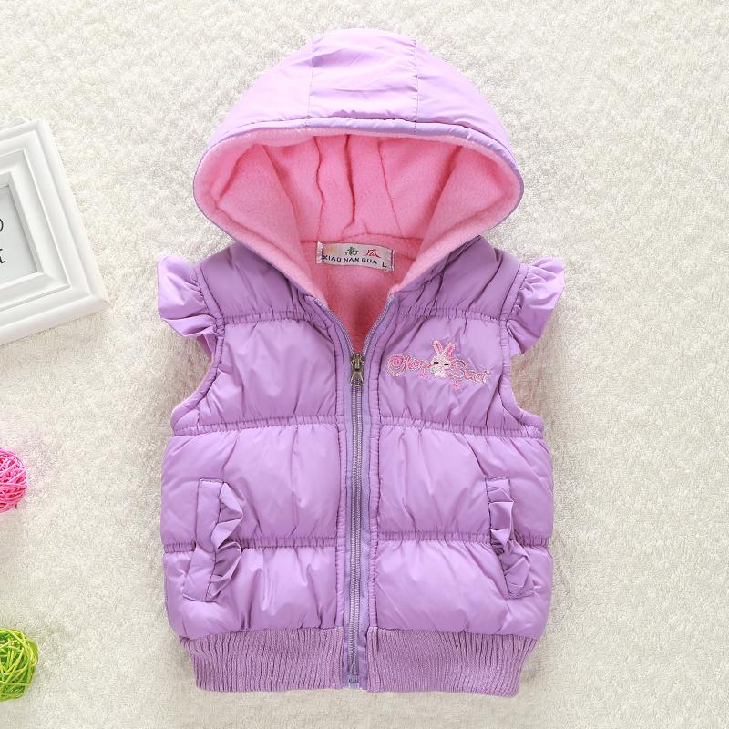 Free shipping 2015 Winter Spring children clothing waistcoat cute rabbit sleeveless girls Hooded thicken Vest kids
