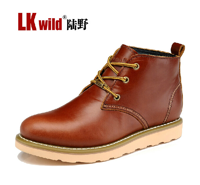 Winter Warm Authentic Brand Genuine Leather Men Martin Short Boots, New Arrival Thick Sole Breathable Waterproof(China (Mainland))