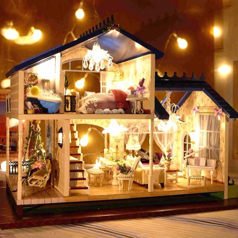 1:24 DIY Wooden Handcraft Miniature Provence Dollhouse Voice-activated LED Light&Music with Cover Doll House Toys For Children(China (Mainland))