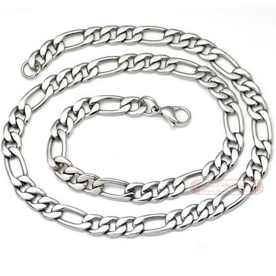 55cm 9mm 316L stainless steel men necklace Chain Figaro style 2015 Fashion Jewelry Christmas Gift PUNK