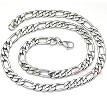 Free shipping, 22″ long, 8.8mm wide, stainless steel mens chain necklace, Figaro Chain, wholesale