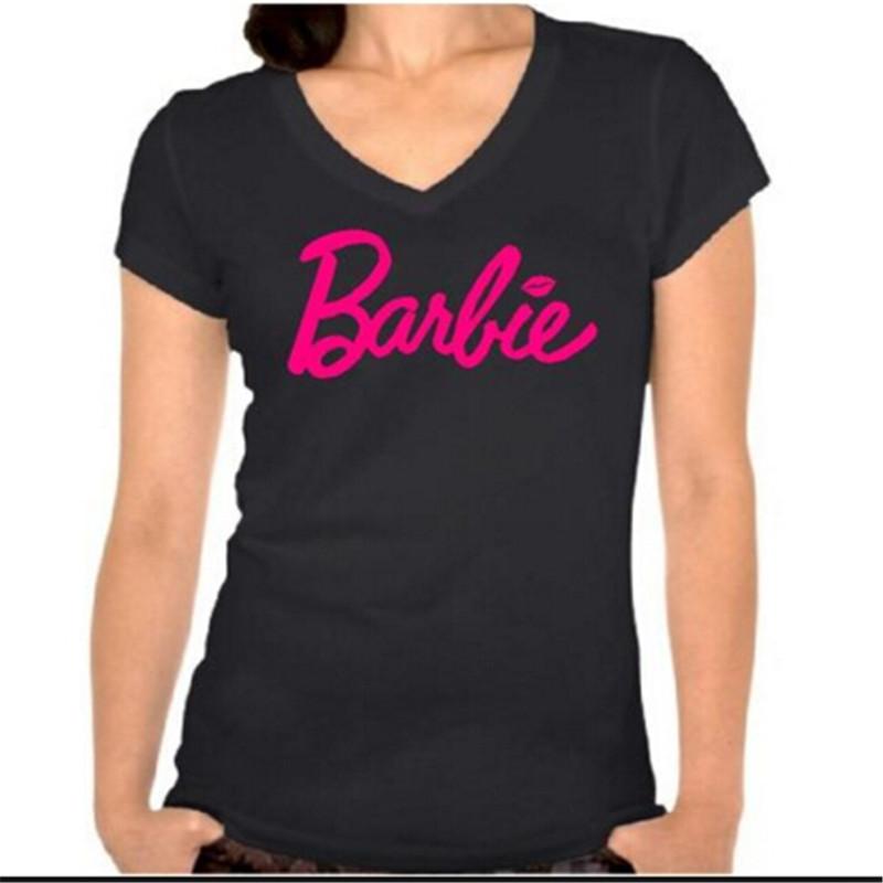 2015 new fashion plus size barbie t shirt women v neck. Black Bedroom Furniture Sets. Home Design Ideas