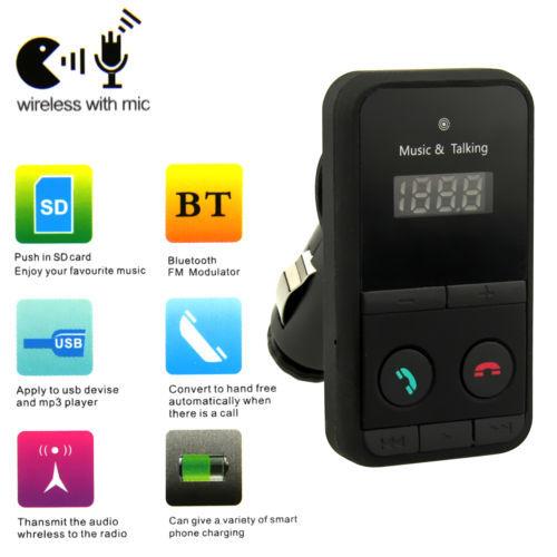 Wireless Bluetooth FM Transmitter Modulator Car Kit MP3 Player SD USB LCD Remote(China (Mainland))