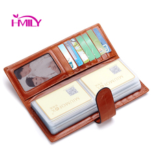 Buy HMILY Genuine Leather Card Case Large Capacity 60 Card Slots Business Credit Card Holder Long Bank Card Wallet Vintag ID Holders for $22.95 in AliExpress store