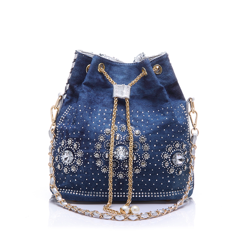 Ladies Cluthes Handwoven Bucket Bag Women Denim Bag With Rhinestones Handbag With Chain Handle Summer Beach Shoulder Bag 45ZR(China (Mainland))