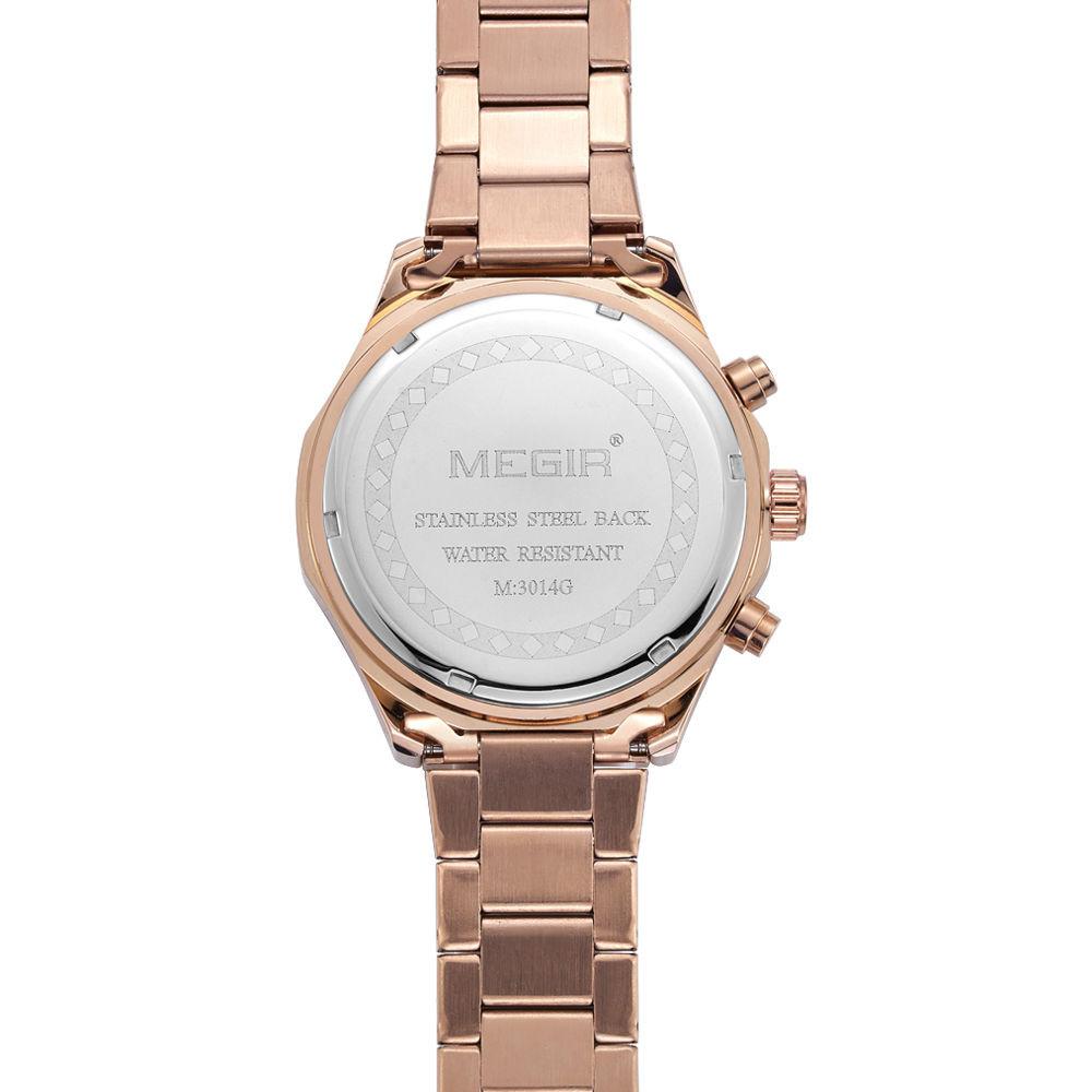 MEGIR Мужчины Хронограф Водонепроницаемый Многофункциональный Военный Кварцевые Часы Показывает Нержавеющая Сталь Новый Стиль Часы Relógio Masculino
