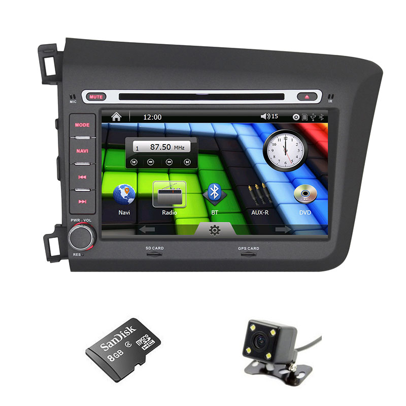 8'' inch 2 Din Car DVD GPS PC for Honda Civic2012-2013,support radio,BT,steering wheel control,CANBUS(China (Mainland))