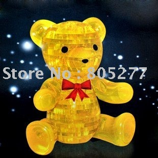 free shipping!!! DIY 3D Crystal intellective Puzzle, children jigsaw, kids toy, teddy bear shape