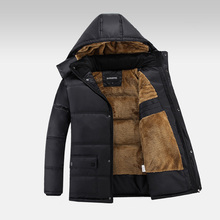 Men's Jacket 2015 New Arrival Thicken Warm Hooded Fur Collar Coat Plus Size Velvet Fashion Winter Outdoor Wear Jackets MCJ63