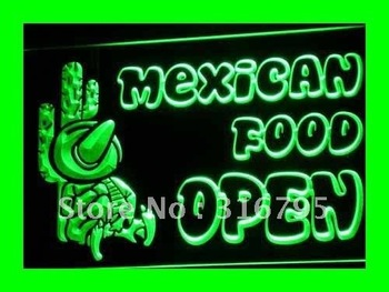 i101-g OPEN Mexican Food Cactus Bar LED Neon Light Sign