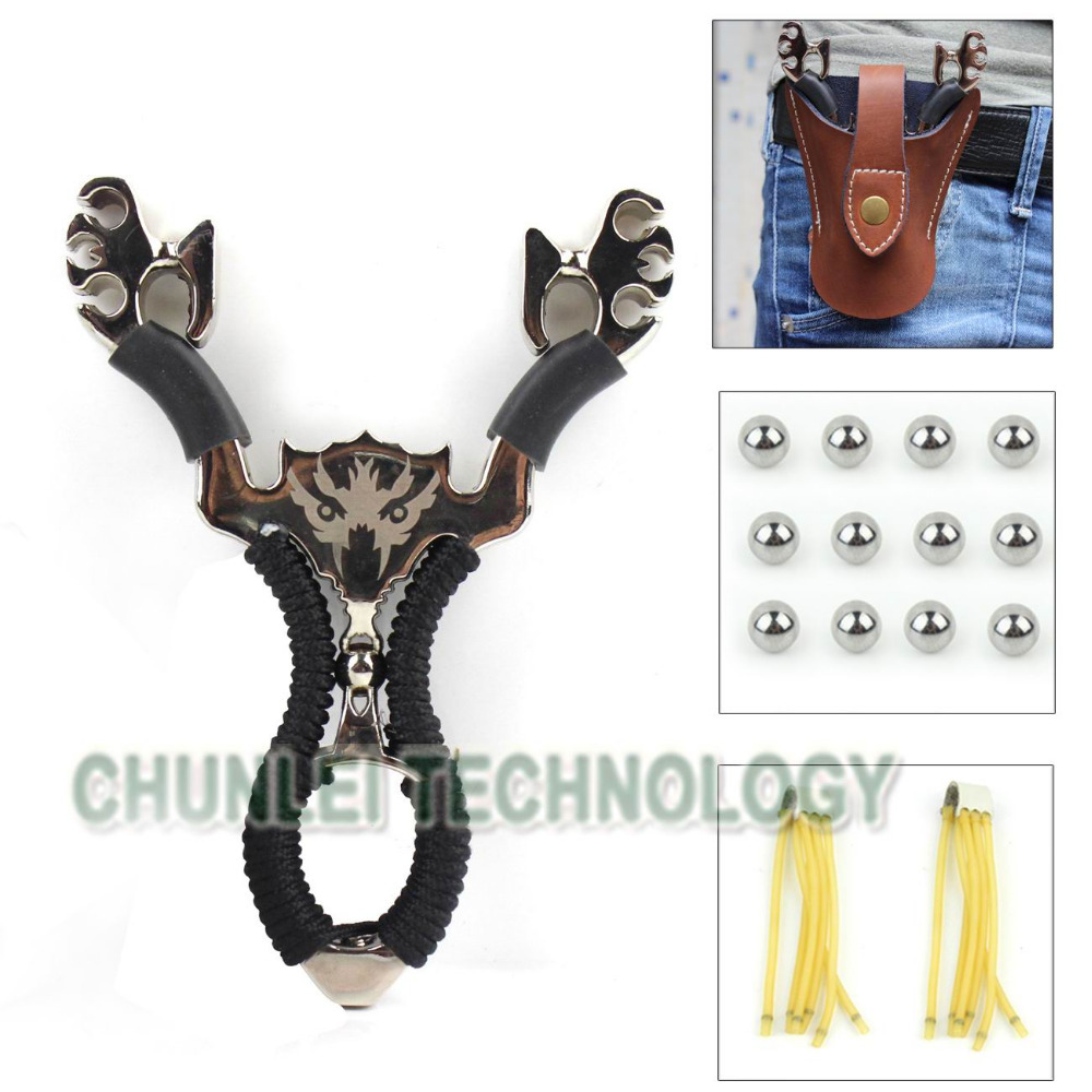 5 in 1 Hunting Wolf Catapult Slingshot+Genuine Leather Pouch Bag+2XRubber Band+4mm Ball Ammo(Hong Kong)
