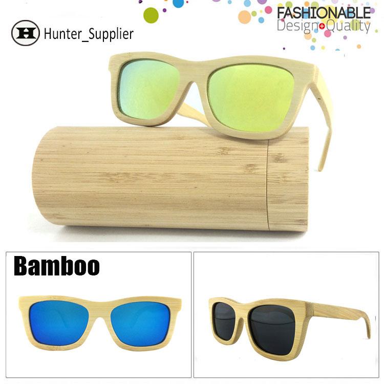 Bamboo Sunglasses Men Polarized Revo Coating Lens Wayfarer Oculos De Sol With Box Wood Eyeglasses Retail and Wholesale ESBM001(China (Mainland))
