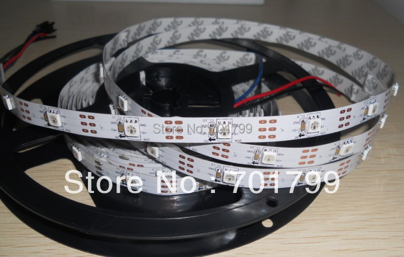 5m DC5V WS2811 30pixels and 30pcs 5050 SMD RGB LED (with built-in ws2811 ic) per meter;non-waterproof,white PCB