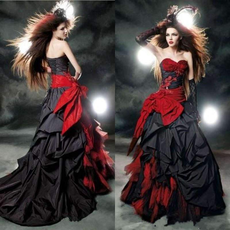 Popular Red and Black Ball Gown Wedding Dress-Buy Cheap Red and ...