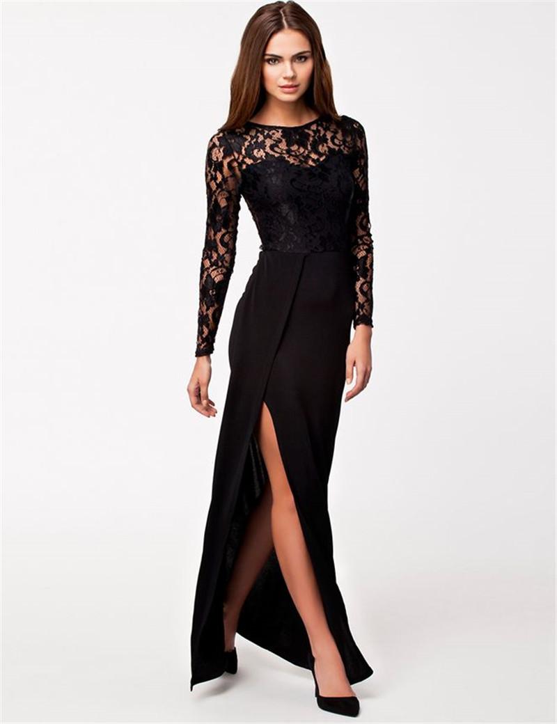 Long Sleeve Black Lace Dress | Beatific Bride