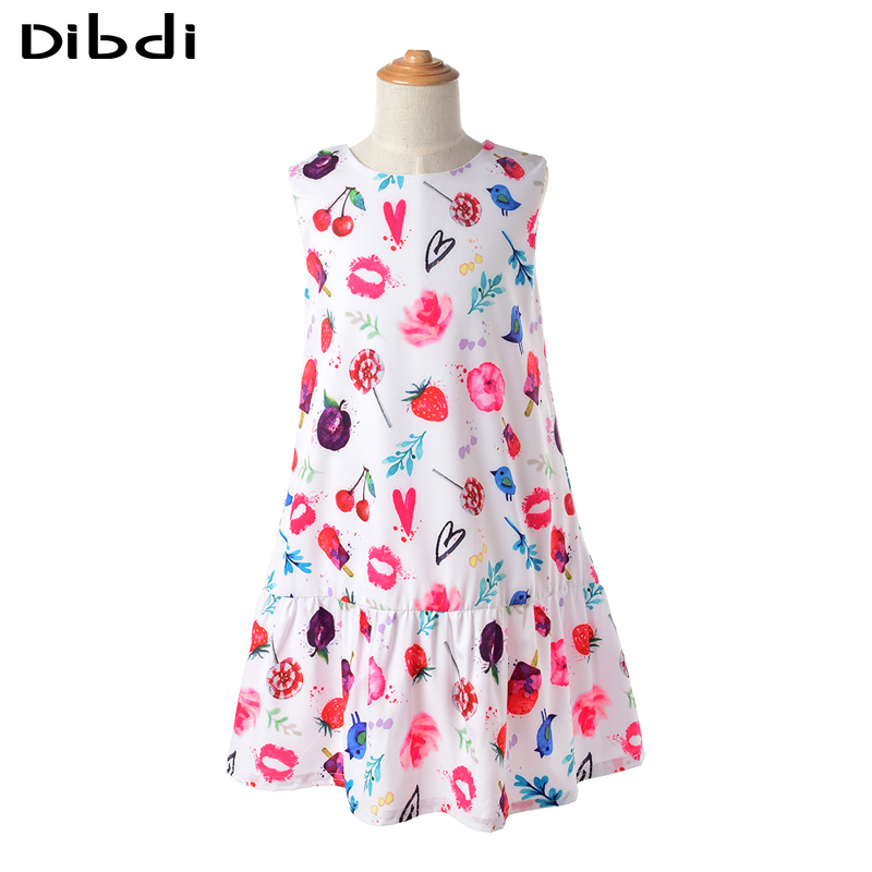 2016 Summer Princesas Beach Dress For Girls Costumes Sleeveless Cartoon Printing Kids Dresses Casual Girl Clothes CA359(China (Mainland))