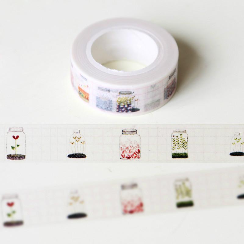 1 rouleau 15 mm x 10 m souhaitant bouteille japonais washi for Rouleau de papier adhesif decoratif