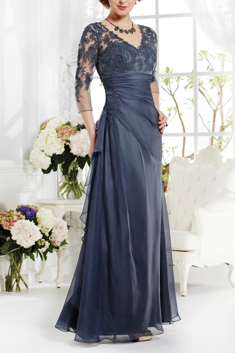 Long navy blue elegant mother of the bride lace dresses for Wedding mother of the bride dresses