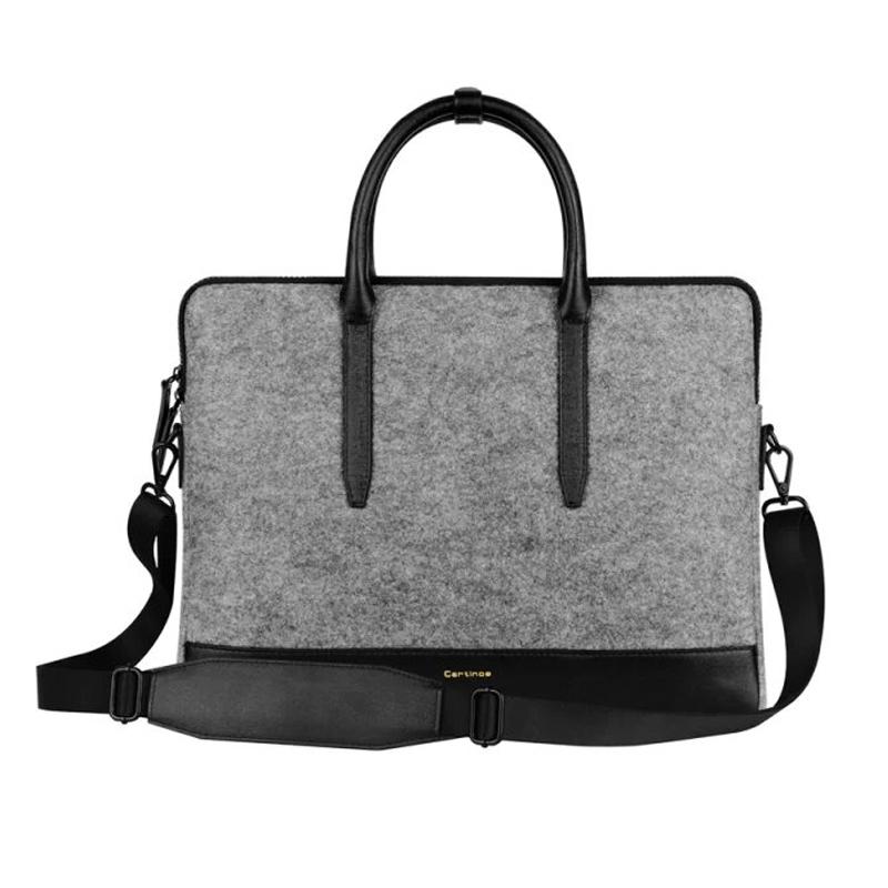 New arrival ! 11 13 15 inch laptop bag Leather & Wool felt handbag shoulder bag protective case briefcase for macbook notebook(China (Mainland))