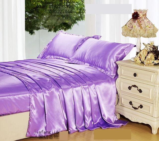 Light purple mauve lilac silk bedding set king size queen - Light purple comforter set ...
