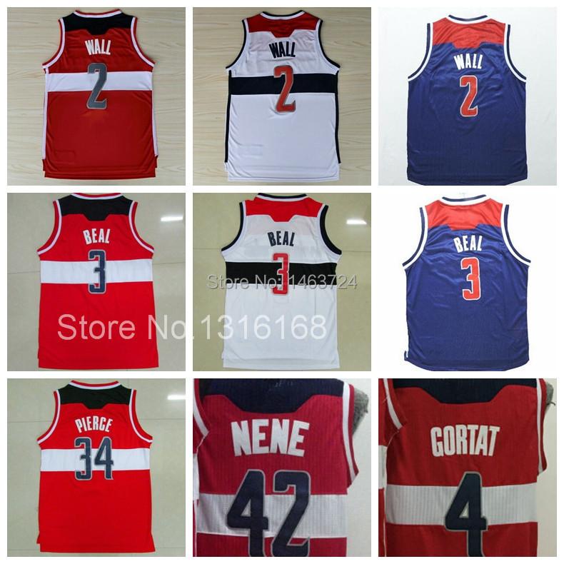 New Gilbert Arenas 2 John Wall Basketball Jersey 3 Bradley Beal Jerseys 4 Marcin Gortat 34 Paul Pierce 42 Nene Hilario Shirt Red(China (Mainland))