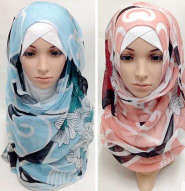 new women fashion printe floral voile high quality viscose plain shawls long wrap hijab muslim scarves/scarf(China (Mainland))