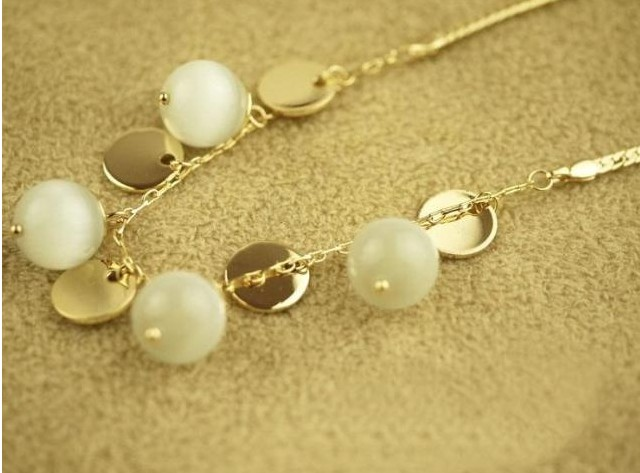 New Accessories gold round - eye beads short design necklace chain(China (Mainland))