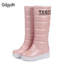 Gdgydh Moda Otoño Invierno Botas de Nieve Plataforma de Las Mujeres de Piel de Felpa Caliente Aumentar Zapatos de Tacón Alto de Dulce de La Rodilla-altos Cargadores de Las Señoras 2017(China (Mainland))