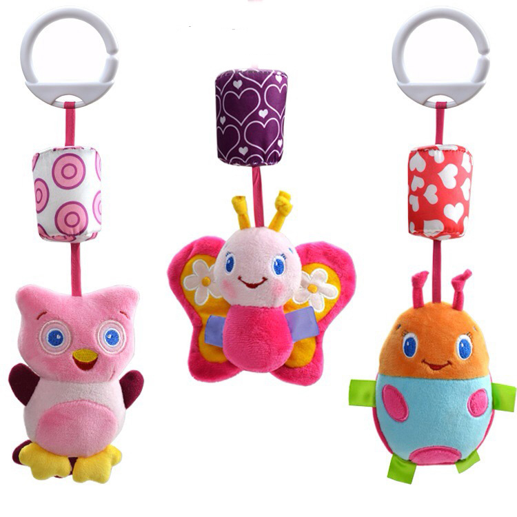 New Baby Toy Mobile Baby Rattles Toys 15cm Bed Hanging Plush Dolls Animal Bells Ring 0 -24 Months Free Shipping B8(China (Mainland))