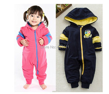 new arrival 2014 autumn and winter baby clothing toddler romper cotton thickening zipper badges hooded casual 80cm-95cm(China (Mainland))