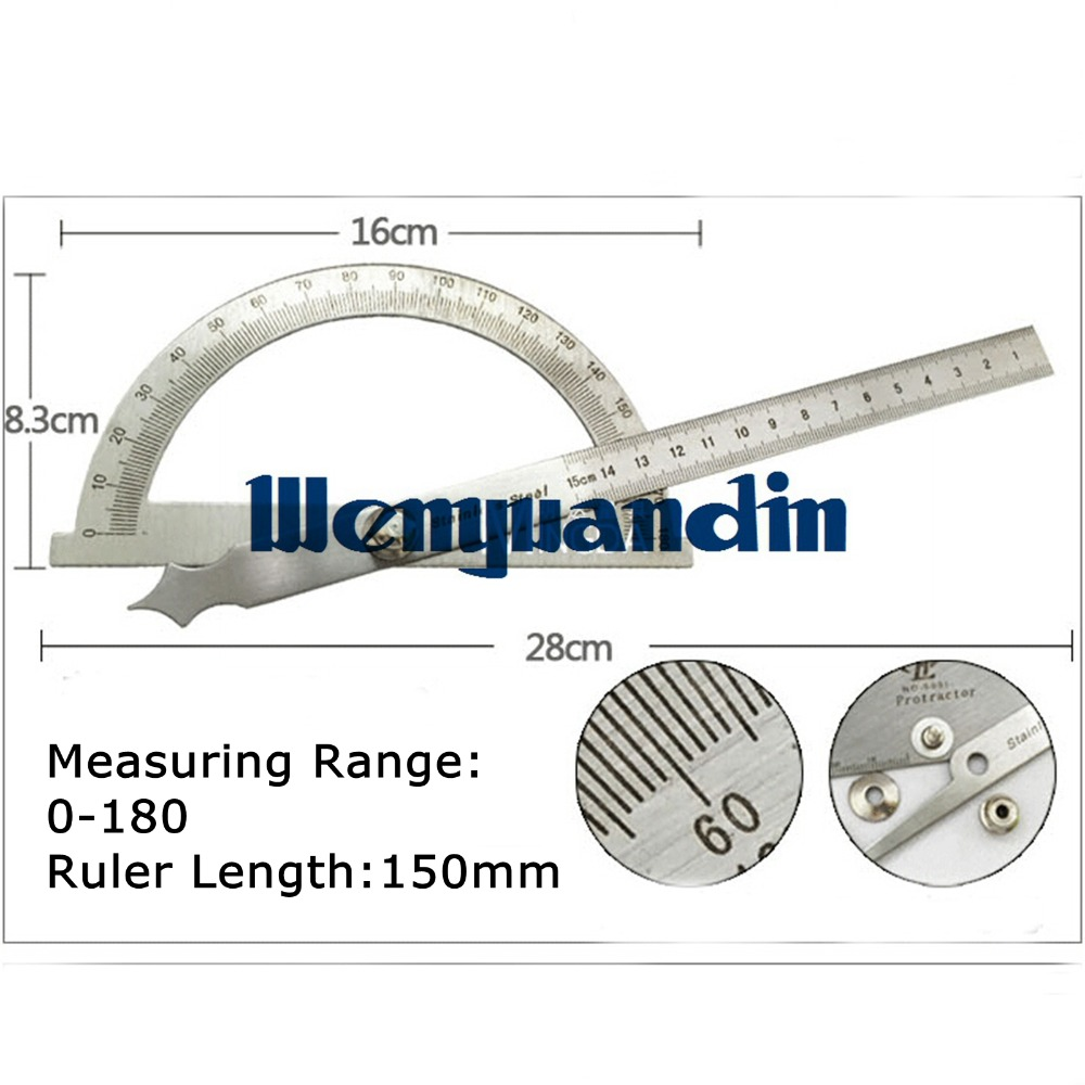 0-180 150mm Degree Adjustable Universal Angle Ruler Round Head Rotary Protractor Stainless Steel Protractor Machinist B2(China (Mainland))