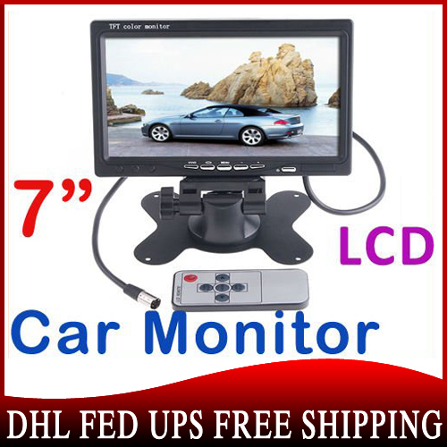 """20PCS Wholesale 7"""" TFT Color LCD 2 Video Input Car Monitor 7 RearView Headrest DVD VCR Monitor for Reverse Camera Free DHL(China (Mainland))"""