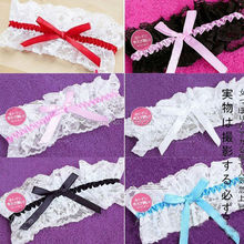 Sexy Lingerie Cat Garters Harajuku Wedding Hen Party Bridal Blue Lace Floral Leg Elastic Garter with Ribbon Bow