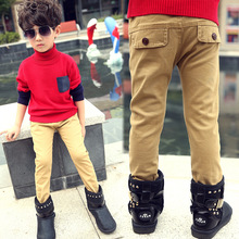 Khaki Casual Winter Kids Trousers Fashion Big Children Clothing Korean Warm Plus Velvet Thicken Pants Boys Trousers Autumn Style