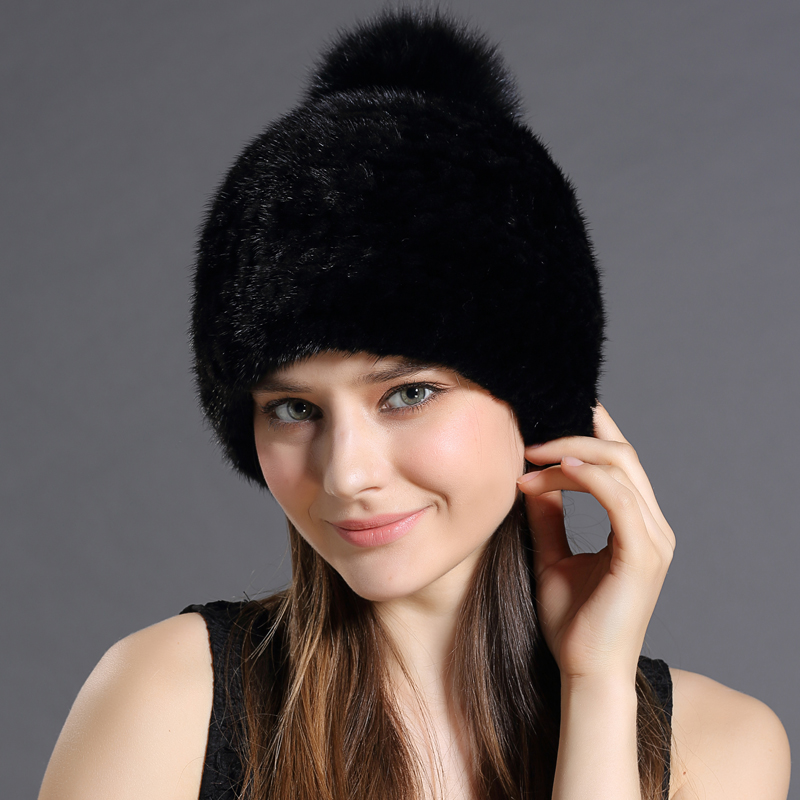 Adult Lady Fashion Natural Real Mink Fur Hats Encryption Plus Thick Skullcaps Fox Ball Women Winter Hat Cap With Fur ball Top(China (Mainland))
