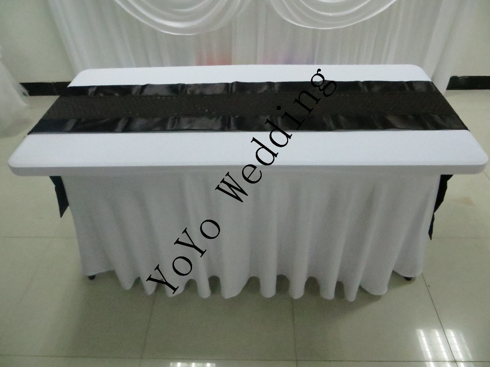 black lace table runner,double-side satin runner for wedding,party,banquet(China (Mainland))
