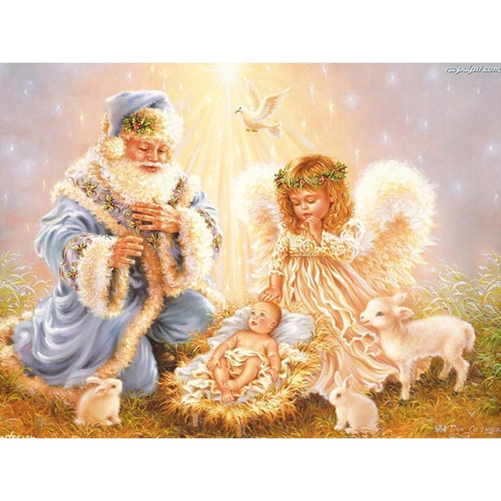 3D DIY Diamond Embroidery Santa christmas diamond painting angel wings drawings Mosaic kit full Square Drill Rhinestones Crafts(China (Mainland))
