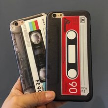 "New 4styles Retro Cassette Tape Silicon Case for iPhone 6 Plus 5.5"" Mobile Phone Cases Free Shipping(China (Mainland))"