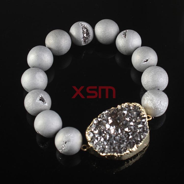 8mm Smile Beads Crystal Agate Bracelet.Durzy Connector Decorations Bracelet .Natural Stone Druzy Bracelet 5pcs/lot(China (Mainland))