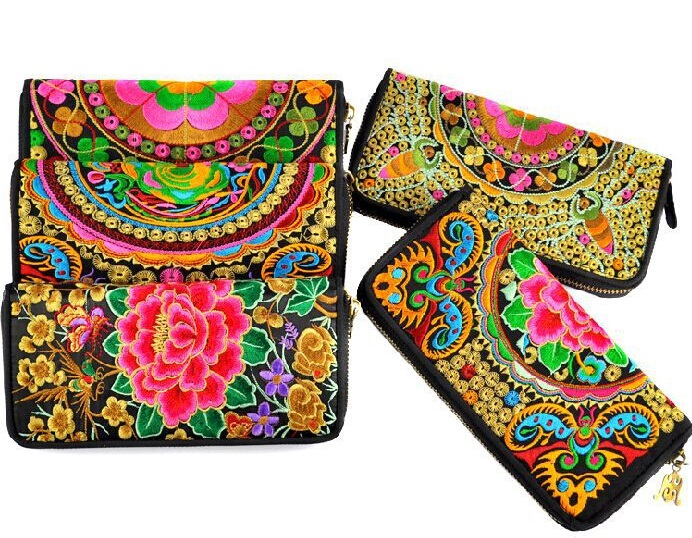 2016 Hot Sell Floral Print Embroidery Chinese Tradition Style Women Wallet Card Holder Ladies' Purse Pocket Zipper Designer W014(China (Mainland))