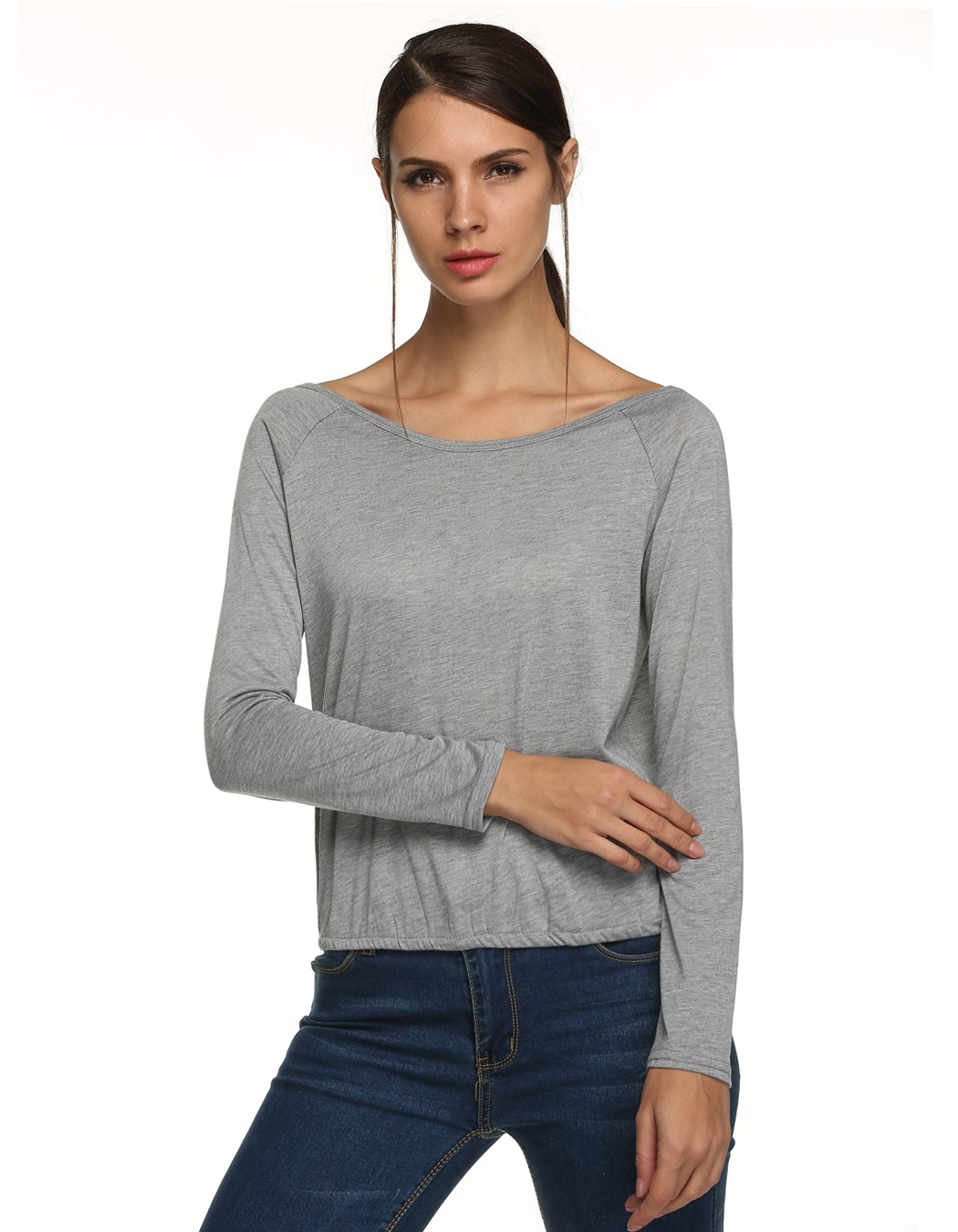 New women fashion long sleeve round neck backless t shirt for Round neck t shirts for ladies