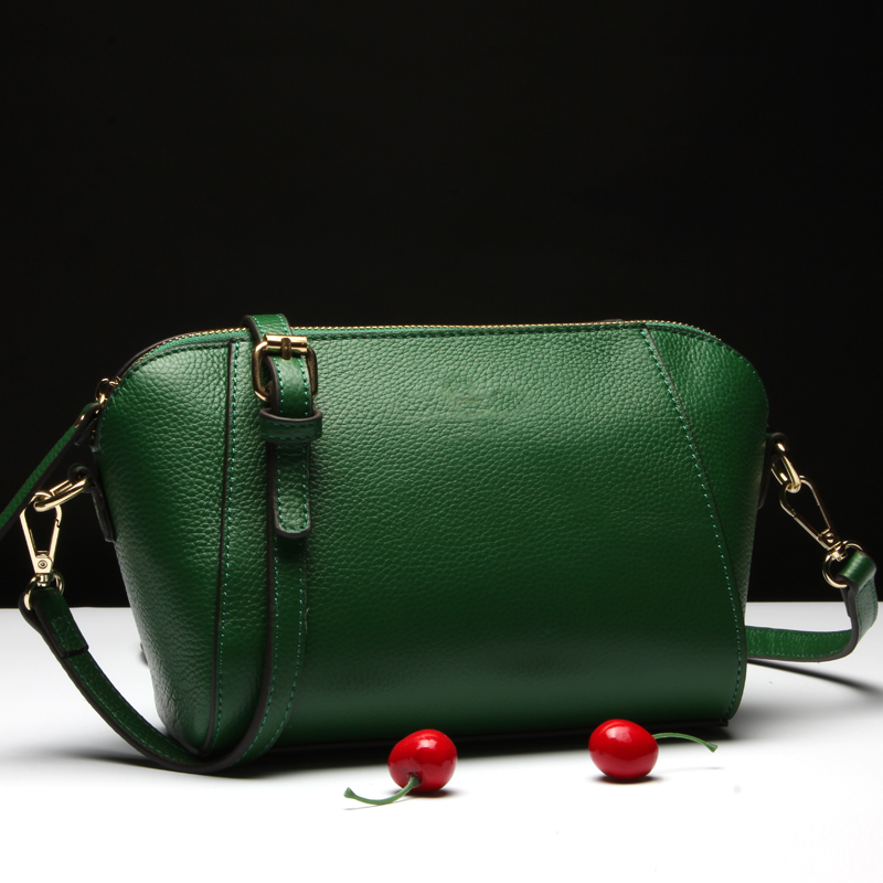 Lady shell style elegance messenger bag green women high quality top layer leather women bag<br><br>Aliexpress