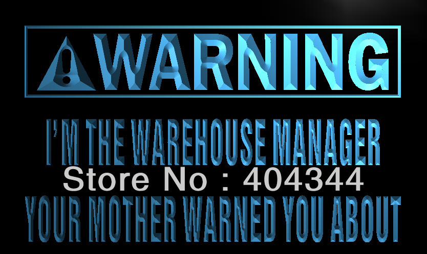 LZ024- Warning I'm the warehouse manager Neon Sign home decor shop crafts(China (Mainland))