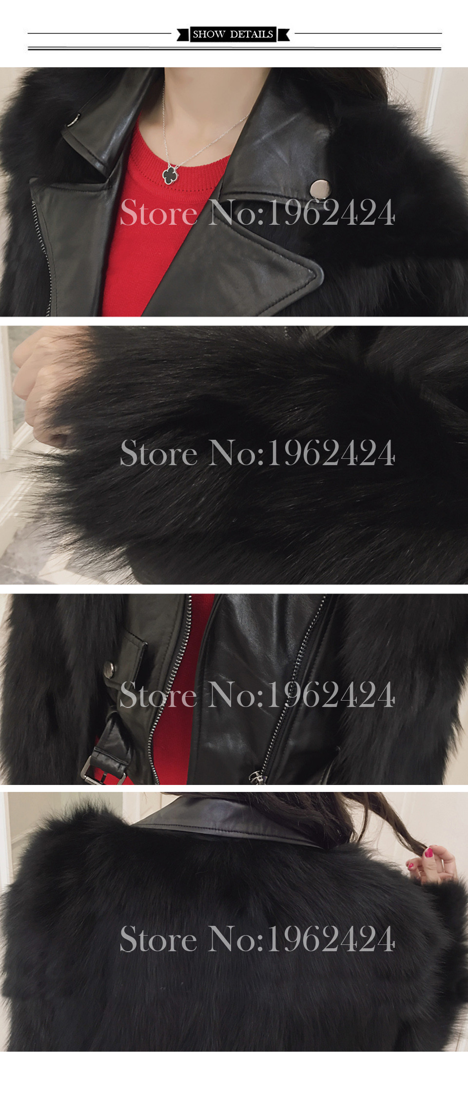 HOT Free shipping 2016 new winter fashion women high quality fox fur fake two lapel sheep leather motorcycle jacket fur & XXL