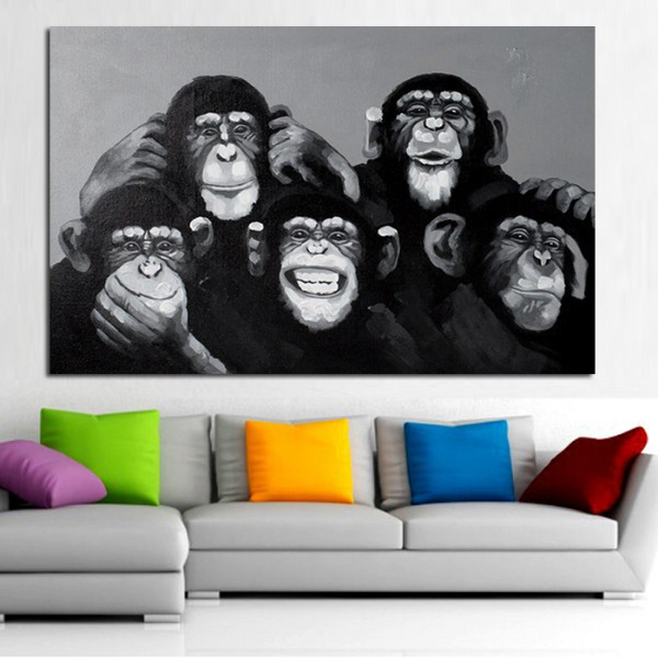 Hot hand-painted abstract oil painting on canvas wall art animal painting for living room decoration Gorilla Family(China (Mainland))