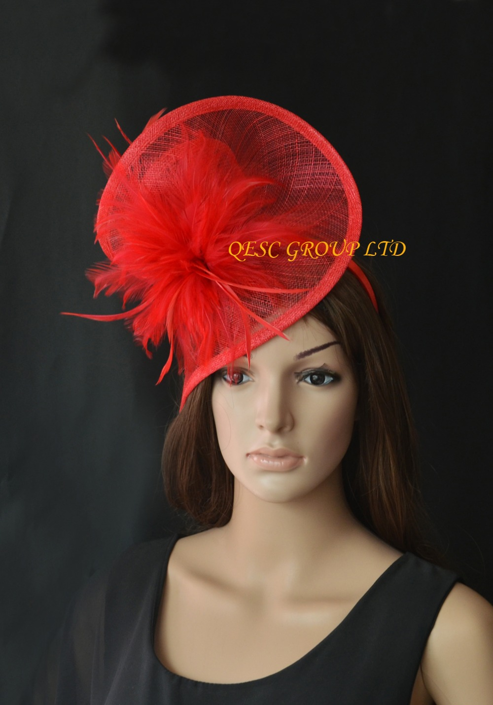 Red Sinamay feather fascinator for Kentucky Derby,wedding.Royal Ascot(China (Mainland))